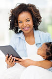 Mother baby tablet Stock Image