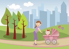 Mother and baby take a stroll. Illustration of a beautiful mom who takes a stroll in the city park with her cute baby in the carriage Stock Images