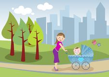Mother and baby take a stroll [2]. Illustration of a beautiful mom who takes a stroll in the city park with her cute baby in the carriage Stock Photography