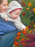 Mother with baby teaching flowers stock photography