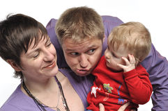 Mother with baby and tomfoolery father. Portrait Stock Photo