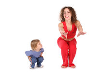 Mother with baby training stock photography