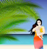 Mother and baby tropical illustration Royalty Free Stock Photography