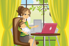 Mother and baby using laptop. A vector illustration of a mother working on a laptop while holding a baby Stock Image