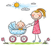 Mother and baby on a walk. Happy mother and baby on a walk Stock Photos