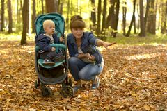 A mother with a baby walking in forest Park an autumn. royalty free stock photos