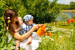 Mother and baby watering camomiles royalty free stock photo