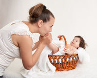 Mother and baby on white Stock Photo