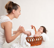 Mother and baby on white Royalty Free Stock Photo