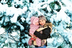 Mother with  baby  in winter Royalty Free Stock Image