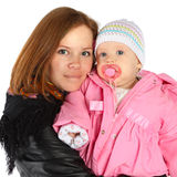 Mother and baby in winter jackets Stock Image