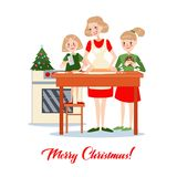 Mother Bakes Traditional Christmas Cookies with Daughters. Happy Family Winter Holidays. Vector illustration Stock Images