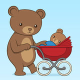 Mother bear pushing her cub in a buggy Stock Images