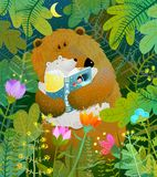 Mother Bear reading book to cub baby in forest. Good night fairy tale before going to bed. Vector illustration Stock Photos