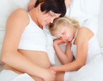 Mother bed child Stock Photo