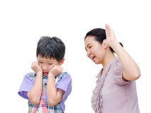 Mother Being Physically Abusive Towards Son. Asian mother Being Physically Abusive Towards Son Over White Background Stock Image