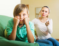 Mother berating teenager son Royalty Free Stock Photo