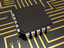 Mother board with chip Royalty Free Stock Photography