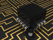 Mother board with chip Royalty Free Stock Image