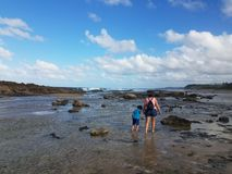 Mother and boy child walking in the rocks and water on the beach in tidepool area in Isabela, Puerto Rico royalty free stock image