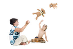 Mother with boy play bear Royalty Free Stock Images