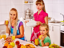 Mother breakfast with her children Stock Image