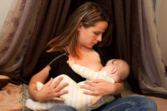 Mother breast feeding baby girl Royalty Free Stock Photography