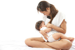 Mother is breast feeding Stock Photo