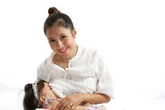 Mother is breast feeding for her baby Royalty Free Stock Photos