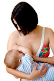 Mother is breast feeding a newborn baby Royalty Free Stock Photo