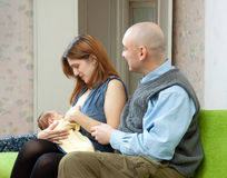 Mother breast feeding newborn baby Stock Photography