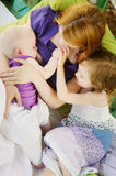 Mother breastfeeding her baby. Girl royalty free stock images