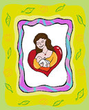 Mother Breastfeeding Her Baby concept vector. Artistic Illustration of Breastfeeding with vector and raster versions vector illustration