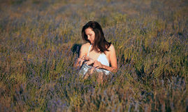 Mother breastfeeding her baby on a great sunny day. In a meadow with lots of green grass and wild flowers royalty free stock image