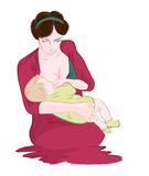 Mother breastfeeding her newborn baby child sitting in popular cradle position supporting his bottom by hand Stock Photos