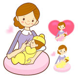 Mother breastfeeding her newborn. Marriage and Parenting Charact Stock Images
