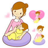 Mother breastfeeding her newborn. Marriage and Parenting Charact Royalty Free Stock Photos