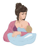 Mother breastfeeding infant baby child lulling him asleep on the nursing pillow like in cradle. Stock Photography