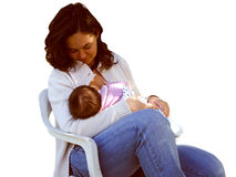 Mother breastfeeding isolated Stock Photography