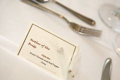 Mother of the bride place setting Stock Image