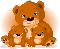 Mother brown bear with her sons. Vector illustration of mother brown bear with her sons Royalty Free Stock Photos