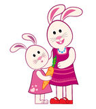 Mother Bunny and Daughter Royalty Free Stock Image