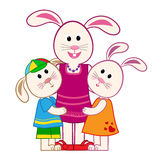 Mother Bunny and Kids Royalty Free Stock Image