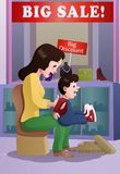 Mother buying son a shoes. Illustration of a shopping mother buying son a shoes on mall Royalty Free Stock Image