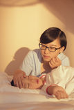 Mother care sick kid stock image