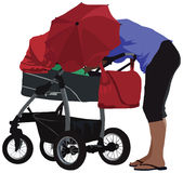 Mother and carriage Royalty Free Stock Photo