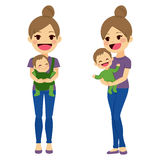 Mother Carrying Baby. Mother on two different poses holding baby with baby carrier and with arms while baby is happy smiling Stock Photos