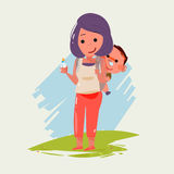 Mother carrying little baby. character design. super dad concept Royalty Free Stock Photos