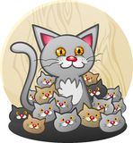 A Mother Cat Cartoon Character with a Litter of Kittens Stock Photos
