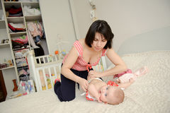 Mother and Daughter on Bed Royalty Free Stock Photo